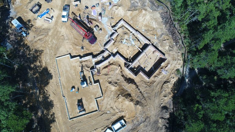 Drone view of the foundation walls at FORWARD at the Rock